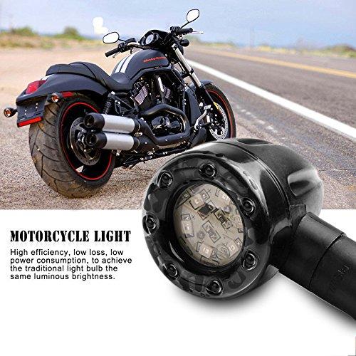 OurLeeme 2pcs 12V Moto clignotants Feu stop feux stop orange Voyant rouge pour Scooter Harley Chrome