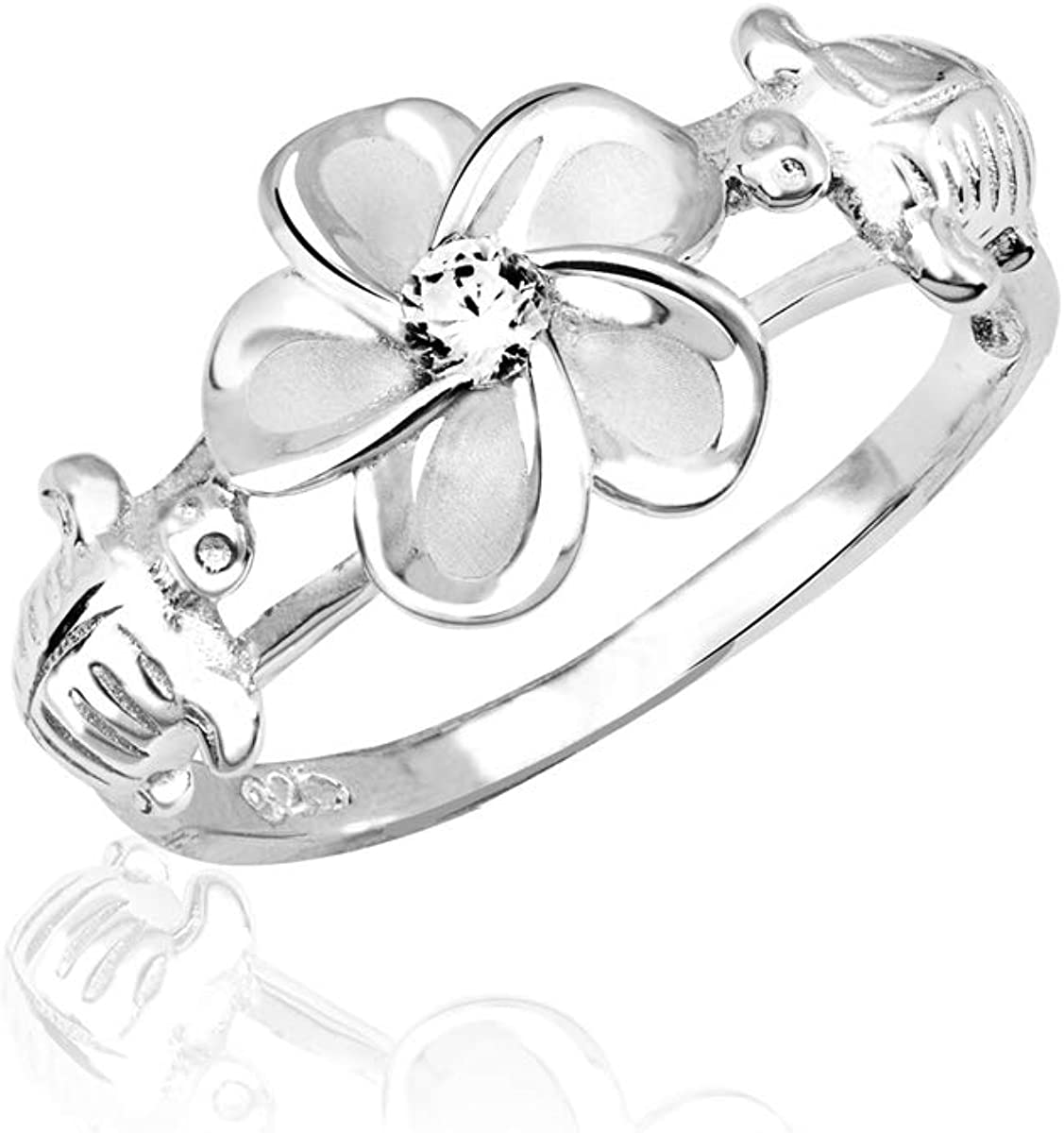 Honolulu Jewelry Company Sterling 40% Under blast sales OFF Cheap Sale Silver Rin Plumeria and Turtle