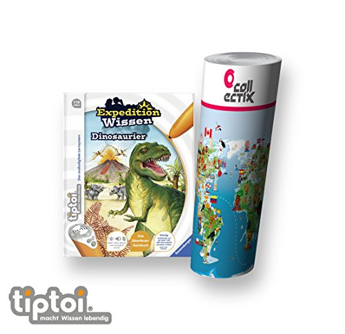 Ravensburger tiptoi ® Bücher Set | Expedition Wissen: Dinosaurier + Kinder Weltkarte - Länder, Tiere, Kontinente