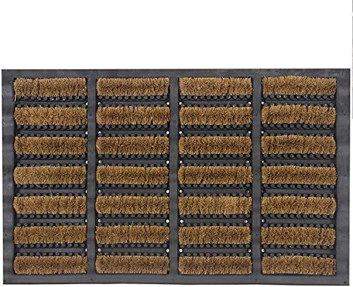 Nimbus Tuff - Felpudo para exteriores (40 x 60 cm), diseño de raspado y suciedad, 100 % fibra de coco con parte trasera de goma y lavable a máquina