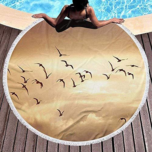 Mamihong Gruesa y Redonda Toalla de Playa Manta Freedom Sky Animales Aves Microfibra Terry Playa Grande Roundie Circle Picnic Alfombra Alfombra con Borla 59 '/ 5 pies