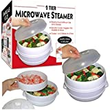 2 Tier Microwave Steamer Healthy Cooking Quick Fast Vegetables No Oil Needed! Cooks Up To 2 Dishes At One Time