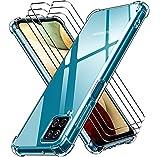 ivoler Funda para Samsung Galaxy A12 / Samsung Galaxy M12 con 3 Unidades Cristal Templado, Carcasa Protectora Anti-Choque Transparente, Suave TPU Silicona Caso Delgada Anti-arañazos Case