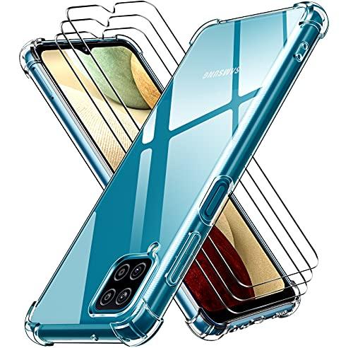 iVoler Cover per Samsung Galaxy A12 / Samsung Galaxy M12, Antiurto Custodia con Paraurti in TPU Morbido e 3 Pezzi Pellicola Vetro Temperato, Ultra Sottile Trasparente Silicone Protettiva Case