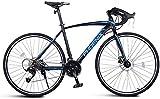 Xiaoyue Adult Rennrad, Männer Rennrad mit Doppelscheibenbremse, High-Carbon Stahlrahmen-Straßen-Fahrrad, Stadt-Dienstprogramm Fahrrad, Weiß, 21 Geschwindigkeit lalay (Color : Blue, Size : 27 Speed)