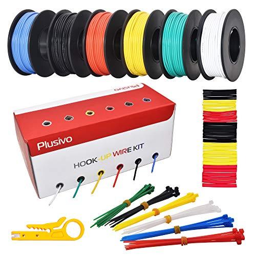 22AWG Cavi rivestiti in PVC - 22 AWG Cavi elettrici a nucleo solido, filo di collegamento di rame, pre-stagnati, 6 colori(nero, rosso, giallo, verde, blu, bianco) 10 m ciascuno, kit di filo per gancio