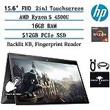 "2020 HP Envy x360 2in1 Laptop 15.6"" FHD Touch-Screen, AMD Ryzen 5 4500U Six-core(Beat i5-9300H, up to 4GHz), 16GB RAM, 512GB PCIe SSD, Backlit Keyboard, Fingerprint Reader, Win10, w/GM Accessories"