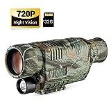 Monocular Visión Nocturna, Telescopio Infrarrojo Digital 8X40 con Tarjeta 32G para Adultos, Recargable de HD LCD Foto/Vídeo, Grabación Vigilancia de Seguridad