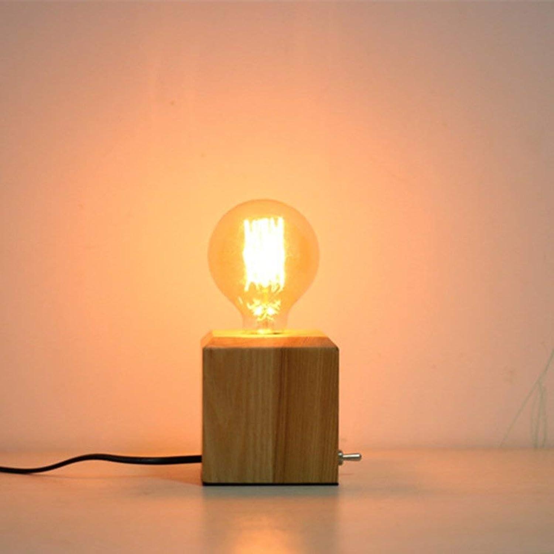 WPCBAA Nordic Holzdimmtischlampe E27 Mini Nachtlicht, Edison Wohnzimmer Studie Kunstbeleuchtung