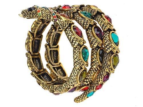 ALILANG Damen Gold Multi Strass Bunte ägyptische Schlange Stulpe Verpackungs Armband