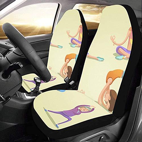 Wen-shop Car Cover Set Cute Kids en diferentes posturas de yogaFit Auto Car Fundas de asientos ProtectorCover Cars