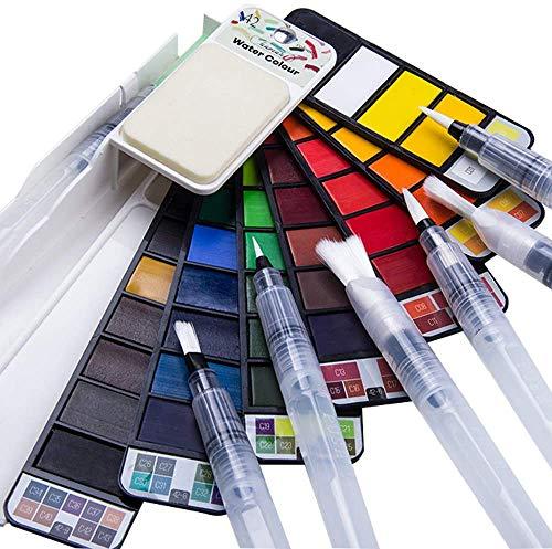 Fuumuui Juego de Pintura de Acuarela 42 Colores con 6 Piezas Juego de Pincel de Acuarela, Juego de Pintura de Arte de Bolsillo de Viaje Profesional, Juego de Pintura de Acuarela sólida portátil.