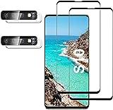 [2+2 pezzi] Pellicola salvaschermo Galaxy S10 con protezione per obiettivo,vetro temperato trasparente HD,compatibile con impronte digitali a ultrasuoni,curva 3D,resistente ai graffi