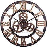 Orologio da Parete con Numeri Romani Retrò Europei Orologi Vintage a Batteria al Quarzo Silenzioso di Grandi Dimensioni per Cucina Soggiorno Camera da Letto (Oro-B)