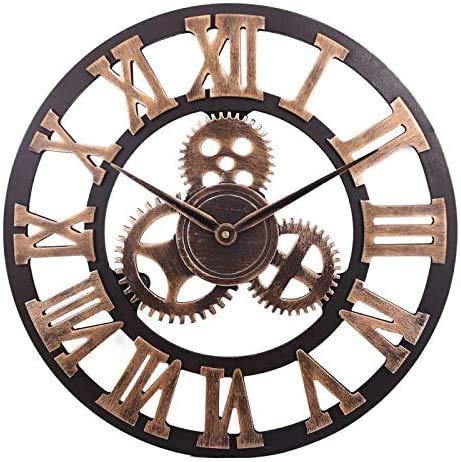 Orologio da Parete con Numeri Romani Retrò Europei Orologi Vintage a Batteria al Quarzo Silenzioso di Grandi Dimensioni per...