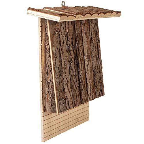 Gardigo 90569 Nichoir Chauve Souris Couleur et Bois Naturel Boîte Hôtel pour Oiseaux Sauvages Maison Nid à Chauves-Souris, Bat Box Abri Naturel