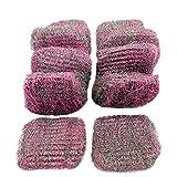 BSTCAR 10 estropajos de acero inoxidable con lana, limpiador de bolas de higiene, elimina eficazmente el óxido de grasa, para grifos, sartenes de aceite, estufas de gas (rosa)