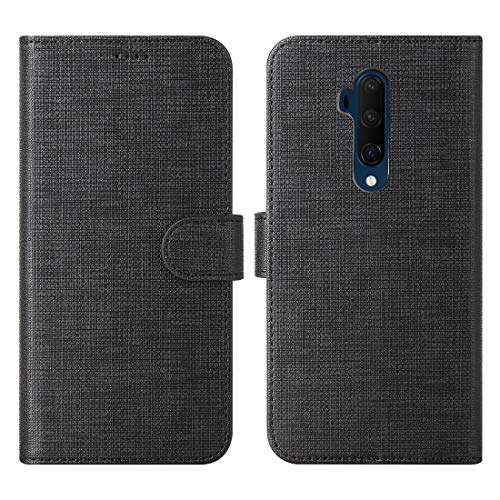 Oneplus 7T Pro Phone Case, Oneplus 7T Pro Case with Kickstand, Multi-Function Magnetic Suction Strong Closure Wallet Case Cover for Oneplus 7T Pro Protective Case (Black)