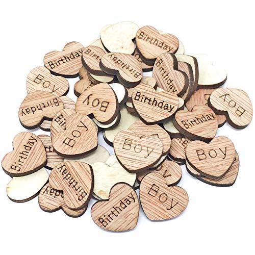 500 X 15 mm Birthday Boy cœurs en bois style shabby chic vintage craft Scrapbooking embellissements Confetti Cœur