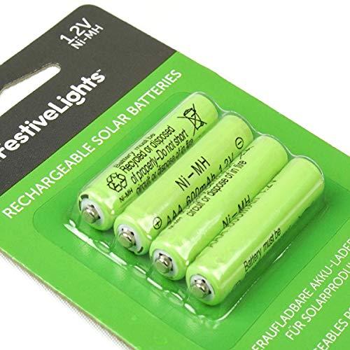 wiederaufladbare Akku-Batterien für Solarprodukte – 600mAh - von Festive Lights (4er Pack AAA 600mAh 1,2V)