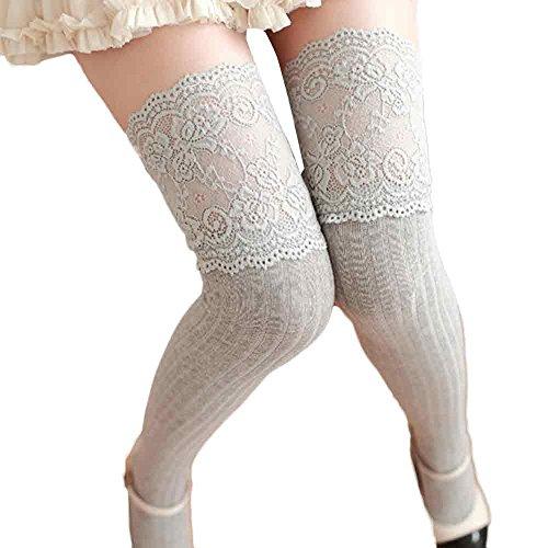VJGOAL Mujeres Otoño E Invierno moda casual color sólido sexy Sobre la rodilla Calentador de la pierna Suave encaje de algodón empalme Calcetines(Un tamaño,Gris)