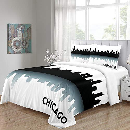 chenyike Bettbezug Bettwäsche 135 x 200 cm weiche Atmungsaktive Mikrofaser Bettbezüge und 1 mal 80 x 80 cm Kissenbezug,mit Reißverschluss Bettbezug - Chicago Design