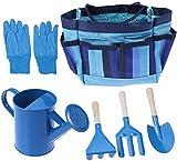 YZXZM Herramientas de jardinería para niños con Guantes de jardín Herramienta para el jardín Bolsas de Mano Niños de jardinería (Azul)