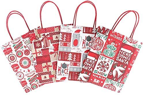 XIAOGING 12st Tasche Druck Kraftpapier-Einkaufstasche for Party Favors