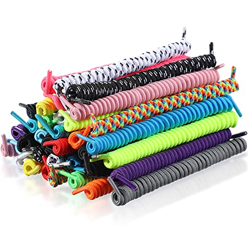 18 Pairs No Tie Curly Shoelaces Elastic Shoe Laces No Tie Shoe Lace for Kids and Adults, 18 Colors