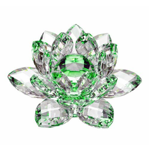 Amlong Crystal Hue Reflection Crystal Lotus Flower with Gift Box, Green (4 Inch)