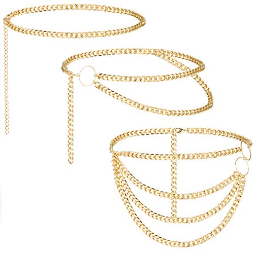 Subiceto 3 Pieces Waist Chains Multilayers Metal Long Tassel Belly Belt Chain for Women Hip Festival Body Jewelry Silver Gold Color