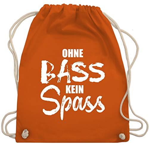 Shirtracer Festival Turnbeutel - Ohne Bass kein Spass - weiß - Unisize - Orange - Bass - WM110 - Turnbeutel und Stoffbeutel aus Baumwolle