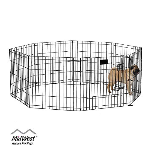 MidWest 550-24DR Foldable Metal Exercise Pen / Pet Playpen, Black w/ door, 24 W x 24 H Inches