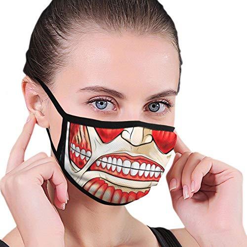 Face Mask Unisex Adjustable Earloop Breathable Scarf Uv/Wind Summer Bandana Attack On Titan Colossal Half Face Black