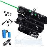 JILERWEAR Flashlight Laser Sight Combo Tactical Flashlight LED 800 Lumen Light and Green Laser Combo Used for Picatinny Rail Offset Rail Mount
