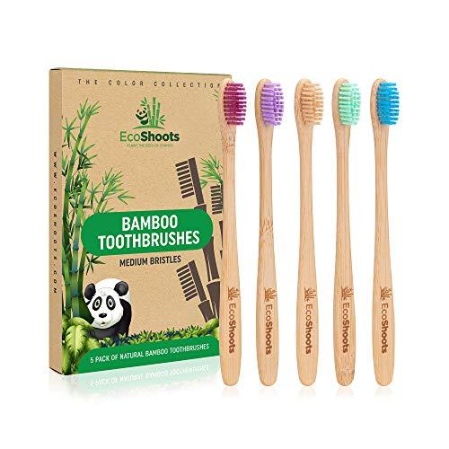 EcoShoots Bambus-Zahnbürsten für Erwachsene mit Medium Borsten | Familienpackung mit 5 Bambus-Zahnbürsten | Umweltfreundliche Holzzahnbürste | Biologisch abbaubarer Griff | BPA-freie Zahnbürsten