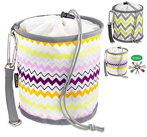 ZWICKER Design Wäscheklammerbeutel zum Aufhängen - Klammerbeutel für 150 Wäscheklammern I Indoor & Outdoor für Wäscheständer, Wäschespinne & Wäscheleine I 4,1l