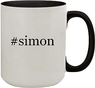 #simon - 15oz Hashtag Colored Inner & Handle Ceramic Coffee Mug, Black