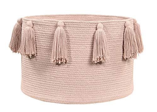 Lorena Canals - Cesta Tassels Vintage Nude / Cesta Tassels Nude Vintage - Rosa palo - 97 % algodón 3 % otras fibras - Ø45x30cm