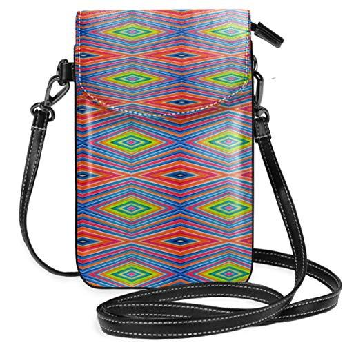 LEPO'S Handy-Umhängetasche Tasche Handtasche Diamantstreifen Kelim Crossbody Smartphone Geldbörse