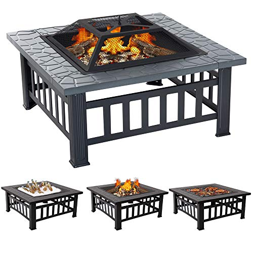 XEMQENER Outdoor Fire Pit with BBQ Grill Shelf for Garden and Patio, Outdoor Metal Brazier Square Table Firepit Garden Patio Heater/BBQ/Ice Pit (3 in 1 Fire Pit Square Table & Grill)