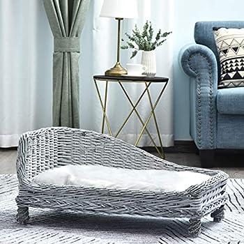 Pawhut Canapé méridienne Chiens Chats Style Cosy Chic dim. 60L x 49l x 31H cm Coussin intégré Osier Gris