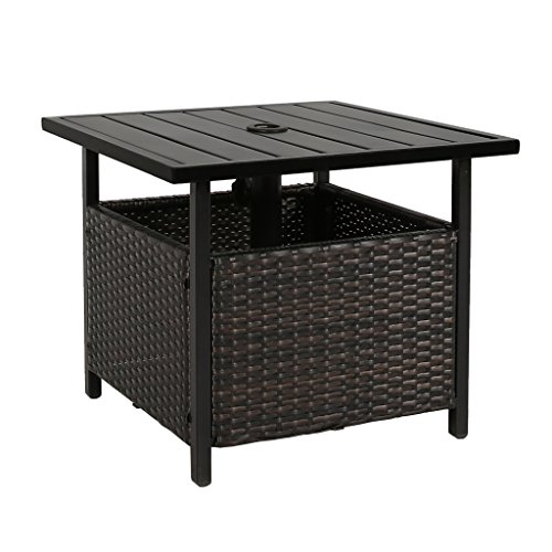 Iwicker Patio PE Wicker Umbrella Side Table Stand, Outdoor Bistro Table with Umbrella Hole