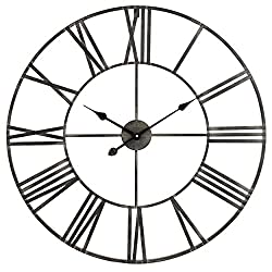 Aspire Solange Round Metal Wall Clock, 30 Diameter, Wrought Iron