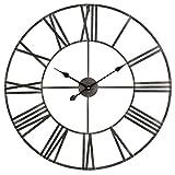 "Aspire Solange Round Metal Wall Clock, 30"" Diameter, Wrought Iron"