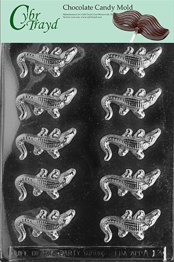 Cybrtrayd Life of the Party A013 Small Alligators Chocolate Candy Mold in Sealed Protective Poly Bag Imprinted with Copyrighted Cybrtrayd Molding Instructions