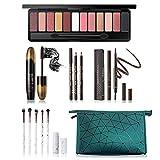 All in One Makeup Kit, Includes 12 Colors Naked Eyeshadow Palette, 5 Pcs Makeup Brush Set, Eyebrow Pencil, 2 Color Eyeliner Pencils, Lash Mascara & Cosmetic Bag, Makeup Set for Women & Teens