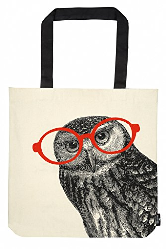 moses. libri_x Shopper Eule, Tragetasche 100% Baumwolle, Sporttasche, 42 cm, Natur