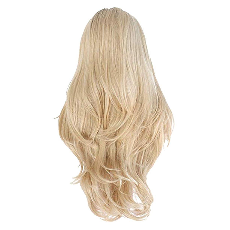 によって美的品女性のフロントレースゴールドグラデーションロングウェーブ巻き毛のセクシーな自然の気質のかつら毎日の遠出のかつら