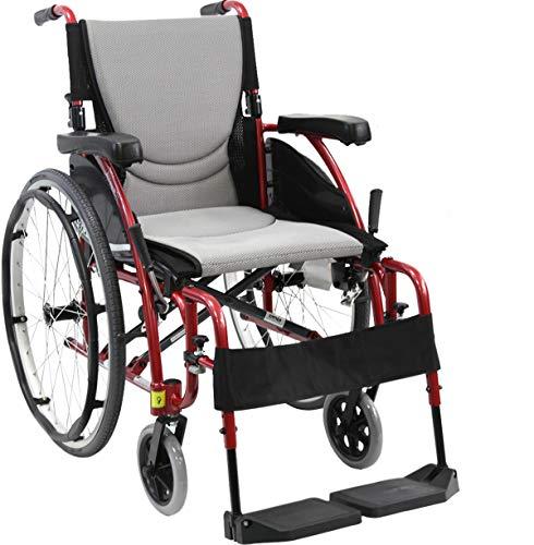 Karman Healthcare S-Ergo 115 20' Seat Width, Ultra Lightweight Ergonomic Wheelchair, Quick Release Wheels - 25 lbs in Rose Red